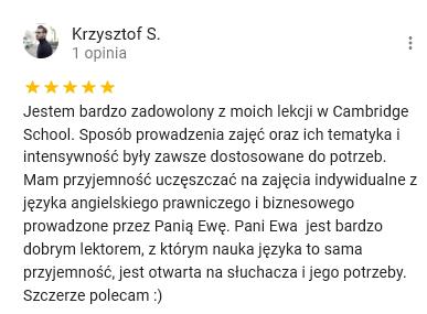 Opinie Krzysztof S. na Google