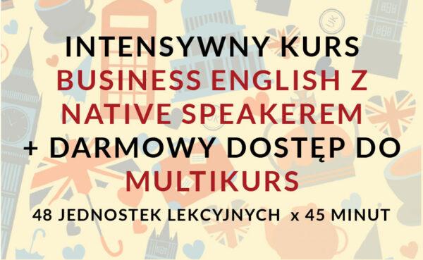 Grafika z symbolami anglii Business English z Native speakerem
